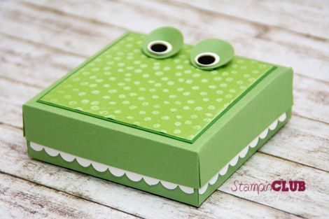 Stampin Up Crocodile aligator box Krokodil Verpackung Punktemeer TI Prägefolder Decorative Dots sale-a-bration 2014 cor'dinations cardstock from www.StampinClub.de with video tutorial