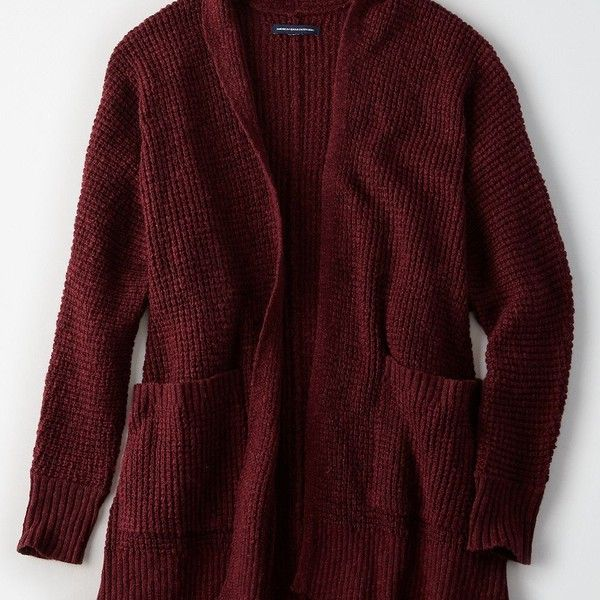 AE Waffle Knit Boyfriend Cardigan ($37) ❤ liked on Polyvore featuring tops, cardigans, red, burgundy boyfriend cardigan, oversized boyfriend cardigan, drape cardigan, slouchy cardigan and oversized cardigan