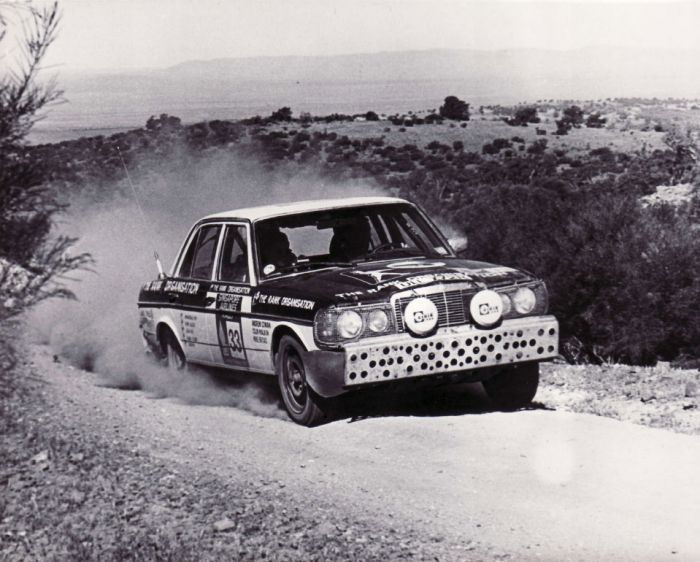 Mercedes 280E rally car. Seems it was car #33 in the London to Sydney rally of 1977.