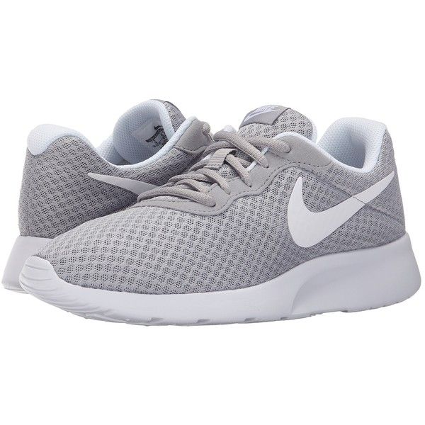 Nike Tanjun (Wolf Grey/White) Women's Running Shoes (£45) ❤ liked on Polyvore featuring shoes, athletic shoes, sneakers, nike, zapatillas, nike footwear, gray running shoes, nike athletic shoes, lace up shoes and round toe shoes