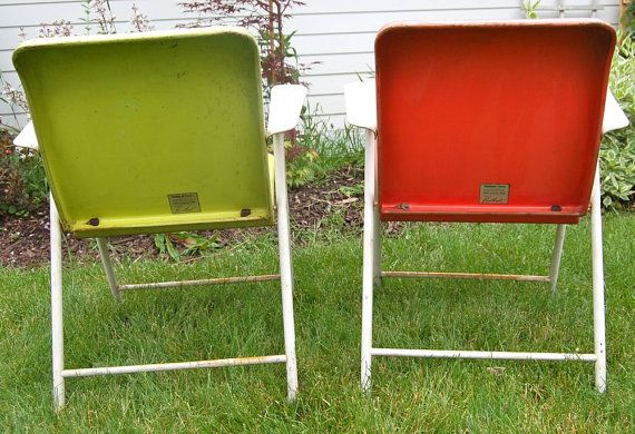 1950s Russel Wright Metal Folding Chairs Pair Of 2 By