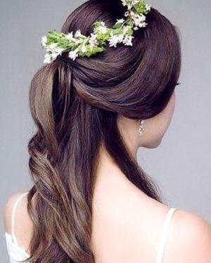 ハーフアップに花冠。マーメイドドレス・スレンダードレスにオススメの髪型・ハーフアップの参考一覧❤