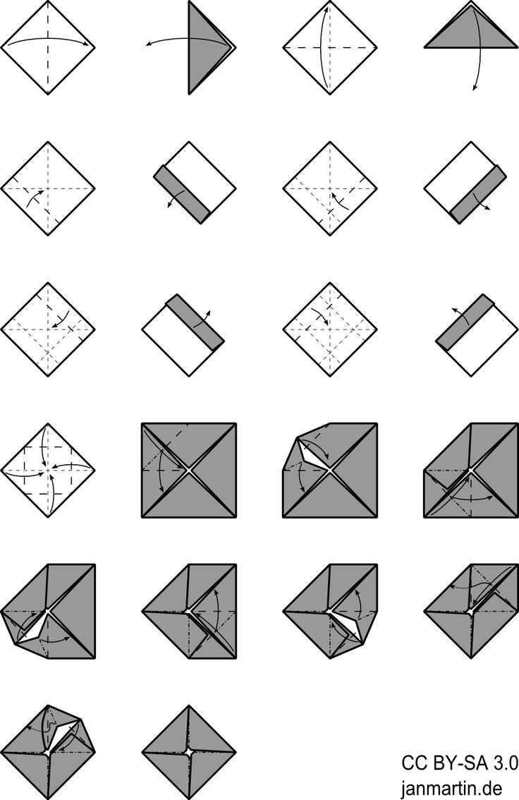 quadratischer origami briefumschlag basteln mit papier. Black Bedroom Furniture Sets. Home Design Ideas