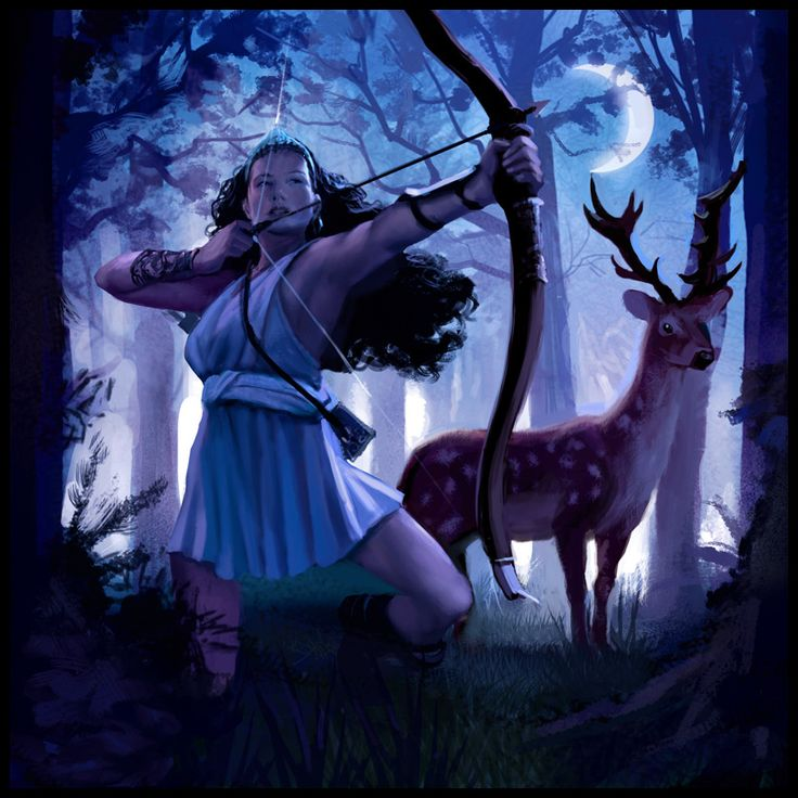 Diana Goddess Roman goddess of the hunt and moon and birthing; associated with wild animals and woodland, and having the power to talk to and control animals.