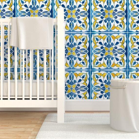 Spanish Wallpaper Spanishtile By Gaiamarfurt Blue Yellow White Tile Custom Printed Removable Self Adhesi Tile Wallpaper Self Adhesive Wallpaper White Tiles