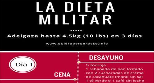 La dieta militar de 3 días es un plan para adelgazar dietarápidamente que combina el consumo de alimentos bajos en grasa y proteínas. Aqui esta el menú.