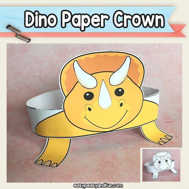 Triceratops Paper Crown Dinosaur Paper Hat Dinosaur Crafts