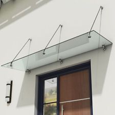 """Invisible"" Glass Canopy Door Porch Shelter Balcony & Stainless Steel Fittings 13mm Safety"