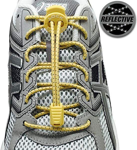 LOCK LACES Reflective Elastic No Tie Shoelaces Storm Gray