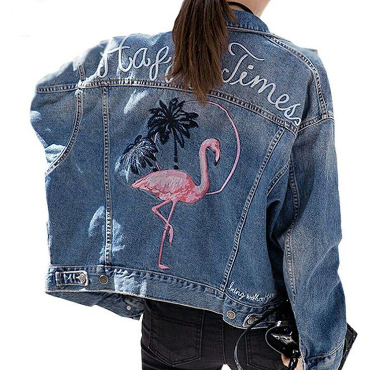 Cheap basic coats, Buy Quality embroidery denim jacket directly from China long sleeve jean jacket Suppliers: Fashion Bird Embroidery Denim Jacket Women Long Sleeve Jeans Jackets Vintage Loose Outerwear Basic Coat 2017