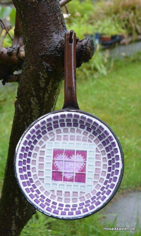 Vogeltränke Herzig 19 cm - Mosaikkasten Gartendeko aus Mosaik