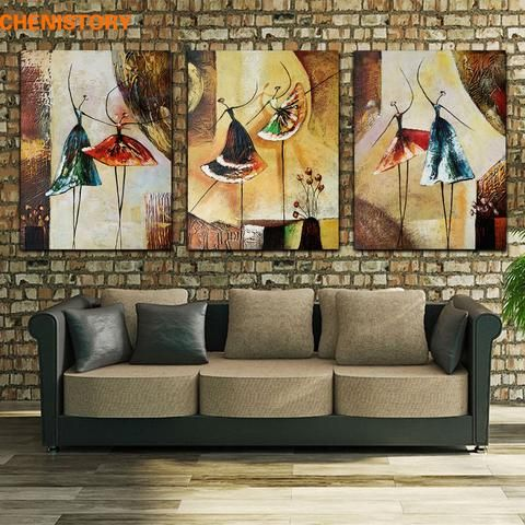 [EBay] Unframed 3 Panel Handpainted Ballet Dancer Abstract Modern Wall Art Picture Home Decor Oil Painting On Canvas For Bedroom