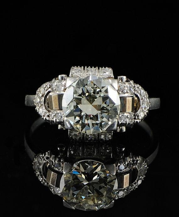 Antique Italian Engagement ring with antique European cut center diamond