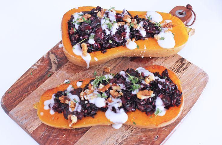 Vegan Stuffed Butternut Squash with Mushrooms and Black Rice, Niomi Smart, Tess Ward, Cooking, Vegan