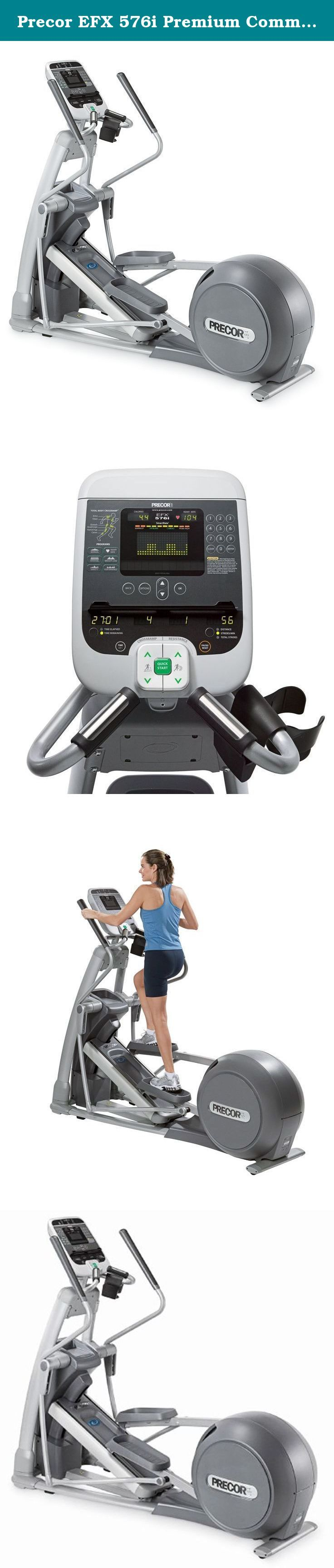 Precor EFX 576i Premium Commercial Series Elliptical Fitness Crosstrainer (2009 Model). You are looking at the Precor EFX 576i elliptical. This elliptical features the moving arms of a cross-trainer with a cross-ramp adjustable from 13 to 40 degrees and 14 programs. It is a super efficient, low impact workout that is easy on your joints and helps you burn calories faster. It features a built-in heart rate monitor into the handles and the soft touch display, which works at the graze of a...
