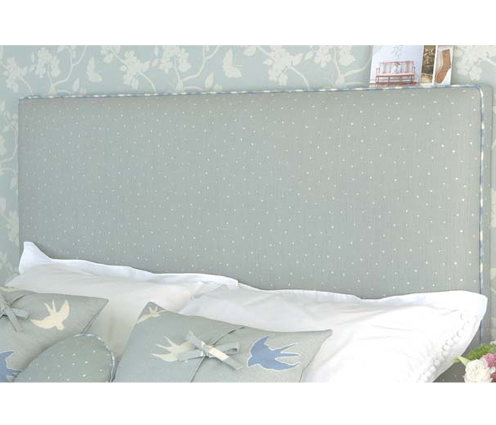 The rectangular headboard is available for all bed sizes and is wall mounted.They are beautifully  upholstered to approximately 10cms in depth and piped along the front edge of three sides.