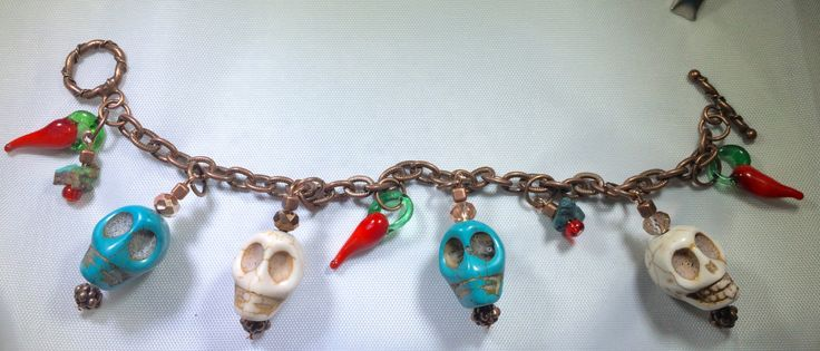 Antiqued Copper Skull Southwest Red Hot Chili Pepper Toggle Charm Bracelet Turquoise Dia De Los Muertos Sugar Skull Day of the Dead Mexico by PureFunDesigns on Etsy