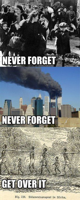 """I pinned this to make the point that people hold onto certain tragedies (like 9/11 or the holocaust) while trying to deny or excuse the fact that millions of people were enslaved and/or killed. People see slavery as a problem that people need to just """"get over"""" and something that happen so long ago when the reality is people are still suffering. If we are to """"Never Forget"""" we need to treat all aspects of history equally and not just pick and choose what to remember and what to cover up."""