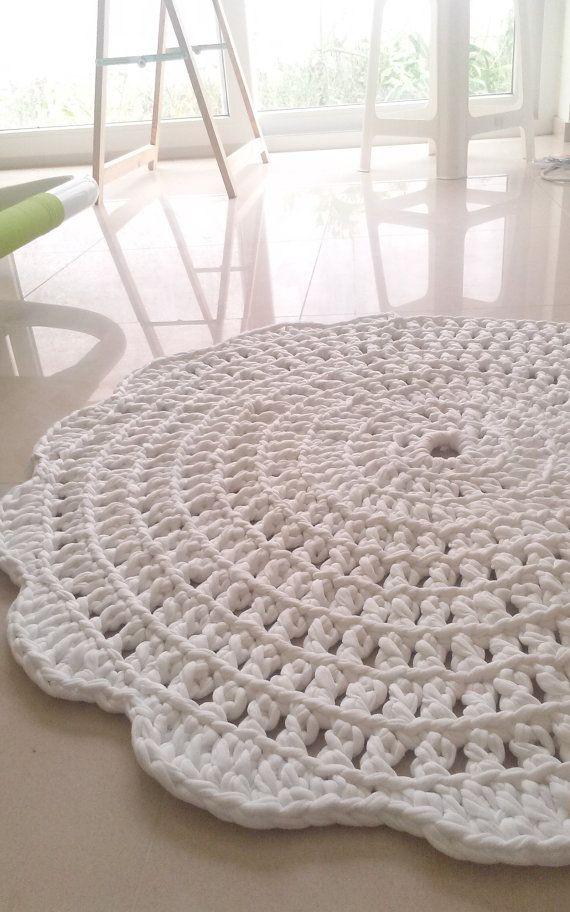 crochet rug round rug cotton rug crochet carpet by martamartim