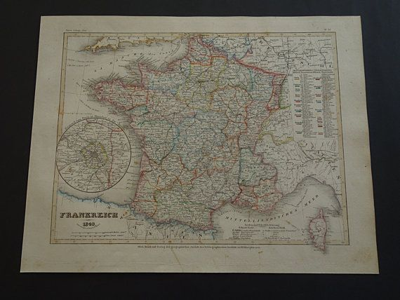 FRANCE antique map of France 1849 hand colored by VintageOldMaps
