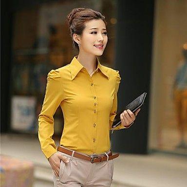 Okergeel chiffon overhemd