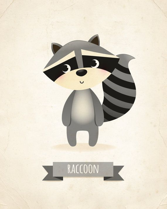 Raccoon nursery art print nursery print kid's by IreneGoughPrints
