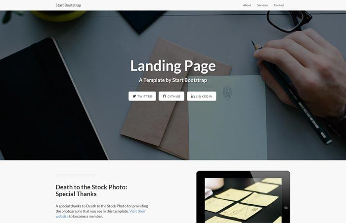 Start Bootstrap freebie! Free, open source landing page layout. It's responsive, and built on the Bootstrap 3 framework. Grab it here: http://startbootstrap.com/landing-page