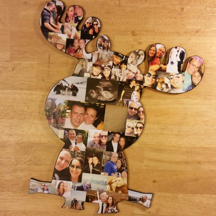 Cute moose photo collage for a baby shower!