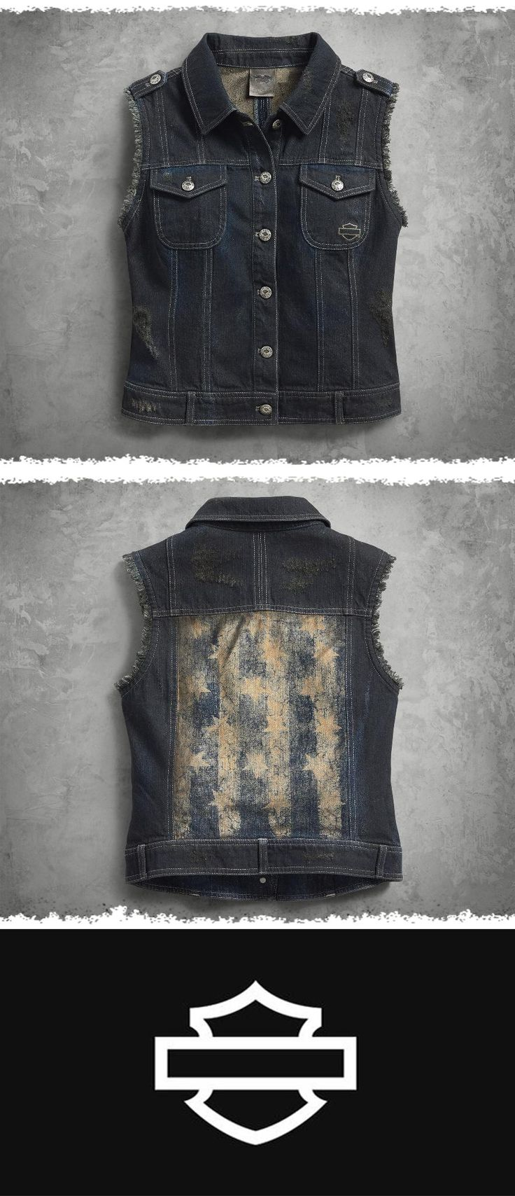The back panel of this women's vest features a faded print of Old Glory. | Harley-Davidson Women's Americana Denim Vest
