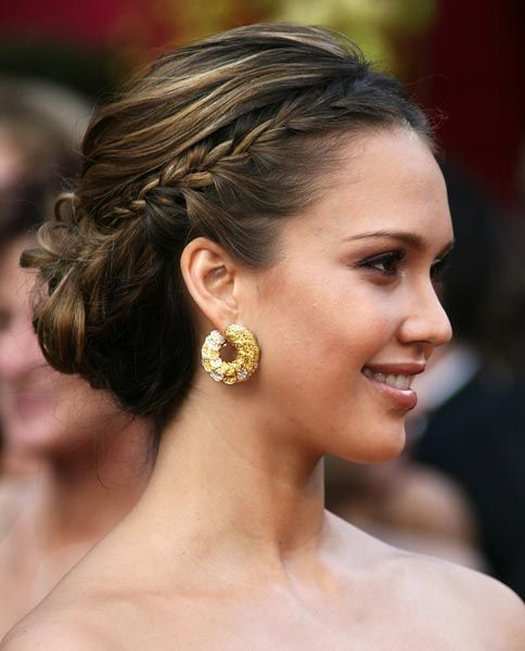 Jessica Alba with side braids