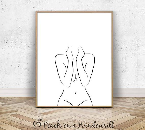 Naked Woman Art | Sexy Drawing of a Girl | Body Figure Sketch | Abstract Line Art Nude Bathroom Poster | 16×20 Black and White Printable – Elaine Smyth