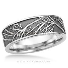 Tree of Life Eternity Wedding Band - This is the matching men's wedding band to the Tree of Life Engagement Ring. A similar branch pattern repeats and overlaps around this ring. The recesses can be darkened to create contrast between the tree and background. http://www.krikawa.com/jewelry/body-of-work/details.aspx?style=898