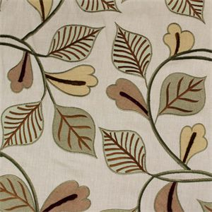 I really wish you could see this beautiful embroidered linen upholstered fabric up close and personal. It's multi colored embroidery fabric, which includes a gold metallic thread around the leaves, on a nice hop sack weave linen fabric. This upholstery linen was made to sell for lots more than we have it priced.Decorators use will use this elegant fabric for draperies, curtains, headboards, bedding, duvet covers, decorative and upholstery projects like stools, chairs, ottomans and din...