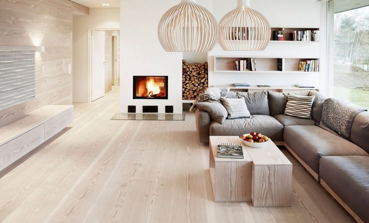 Decoration: Cozy Living Room Decor Featuring Finnish Wood Floor Also Grey Fabric L Shaped Sofas Also Wooden Coffee Table Plus Bird Cage Pendant Lamp Also Cool Fireplace Beside Built Inbookcase: Attractive Wood Flooring Ideas