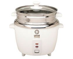 Lotus Foods Stainless Steel Rice Cooker & Steamer (12 Cup) - Not all rice cookers are created equal. Although they may look similar, the Lotus Foods Rice Cooker and Vegetable Steamer has an inner cooking pot and steaming tray that are constructed completely of mirror finish stainless steel. Stainless steel is the healthiest choice for your rice cooking and steaming preparations. Non-stick finishes like Teflon and Silverstone scratch easily and may release little bits of inert plastic into…