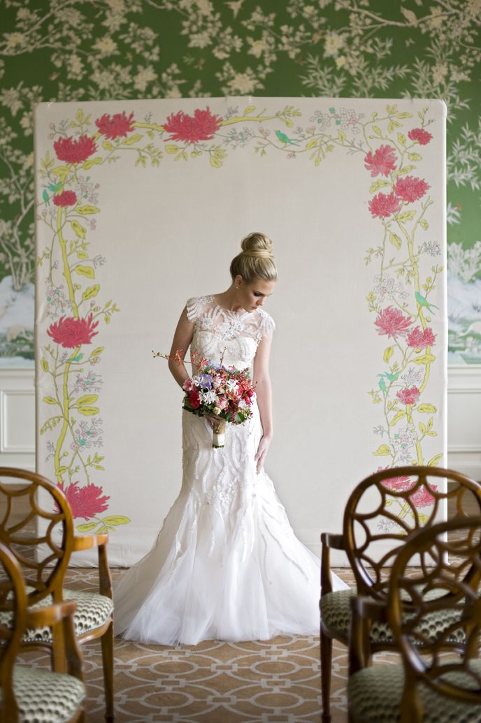 Bride with Hand Painted Ceremony Backdrop | photography by http://www.alysefrenchphotography.com