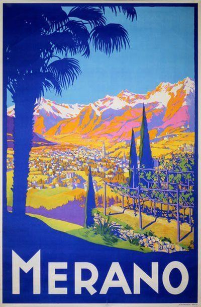 Vintage Travel Poster - Merano - Italy.
