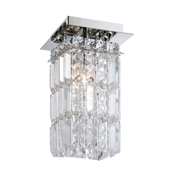 King 1 Light Flushmount In Chrome And Clear Crystal Glass
