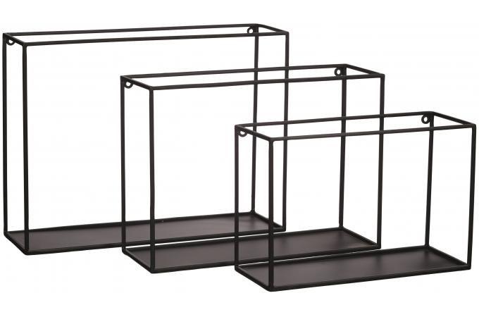 set de 3 tag res pomax noires en m tal h40 34 29 housey plus d 39 infos metal idee deco et noir. Black Bedroom Furniture Sets. Home Design Ideas