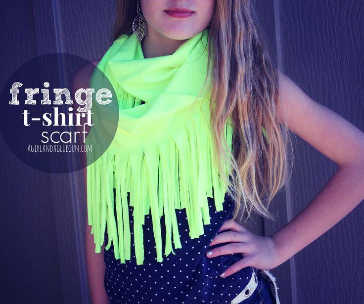 fringe t-shirt scarf no sew