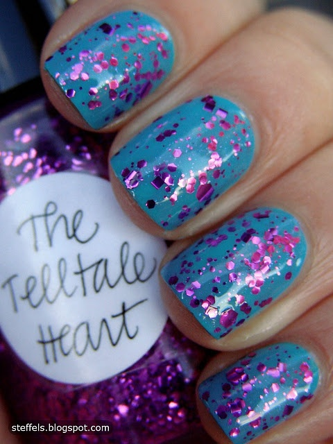 Blue and PurpleColors Combos, Nails Art, Nails Design, Amazing Glitter, Foil Art, Purple Nails, Glitter Nails, Telltale Heart, Nails Polish