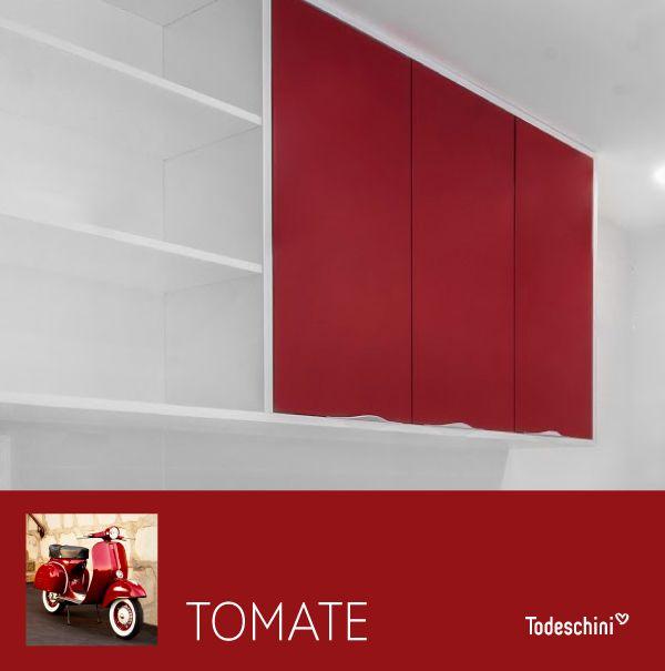 El rojo tomate, es un tono multifuncional, enérgico en el estilo contemporáneo y encantador en el retro. #Diseñodeinteriores #Decoración #Todeschini #ambientes #mueblesamedida #arquitectura #cocinas #renovation #interiordesign  #residentialarchitecture #renovacion