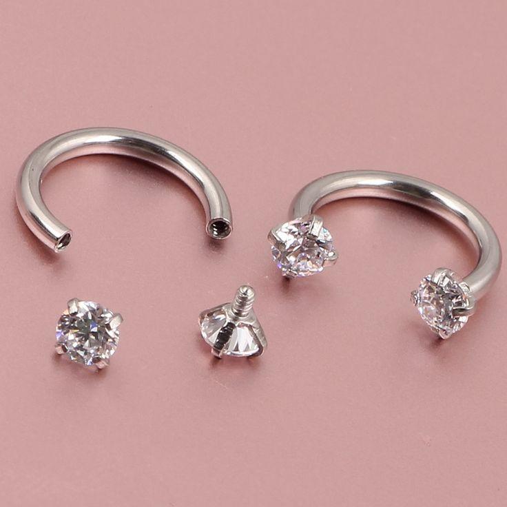 16G Zircon Gem Round Tragus Lip Ring Ear Cartilage Stud Earring Body Piercing Internally Silver Septum Hoop Nose