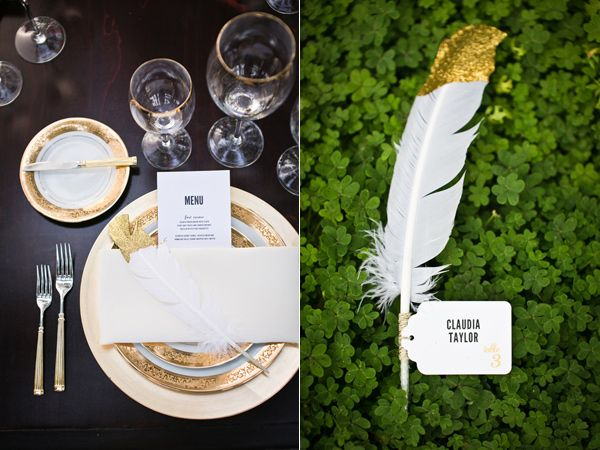 Love the idea of a tagged feather as the place card.