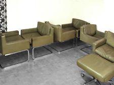 Set van 6 de Sede Hausmann vrijdragende stoelen Swissdesign HAL lederen stoelen