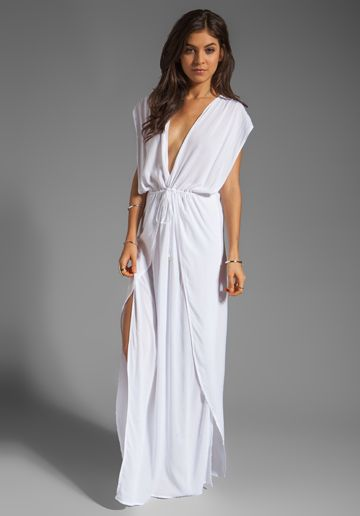 INDAH Jade V Neck Draped Lounge Dress in White at Revolve Clothing - Free Shipping!
