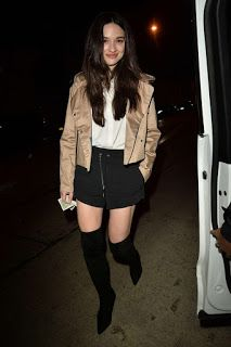 Celebrity Girls Pics: Crystal Reed In Mini Skirt At Catch LA In West Hol...