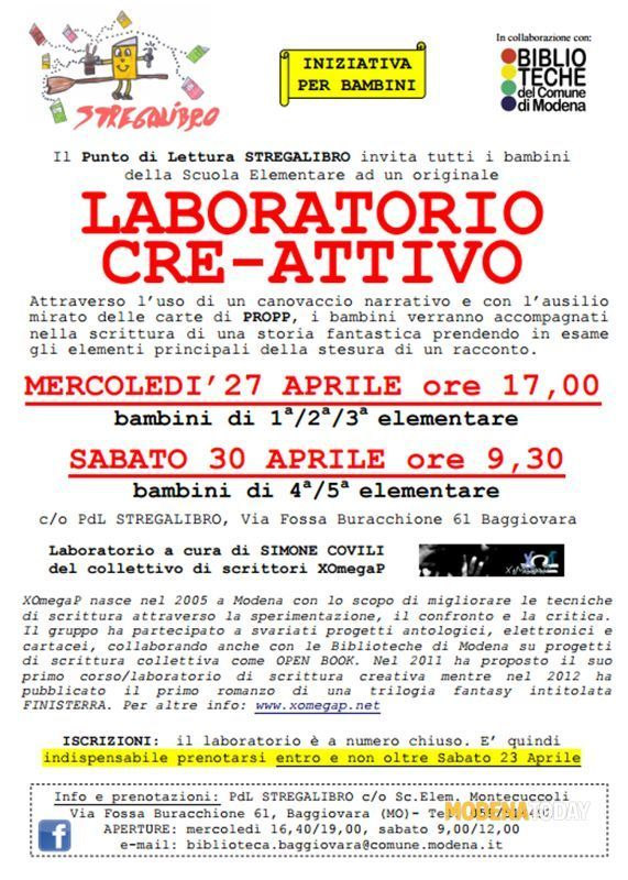 Laboratorio di scrittura creativa per bambini Eventi a Modena