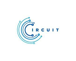 #logo Circuit Blue Logo design - Circuit board. web, internet, networking, wi-fi, electronics.