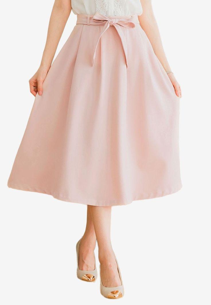Basic Chiffon Midi Skirt With Belt from Mayuki in pink_1